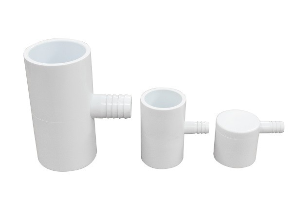 "90 Degree PVC Tee Fittings 1"" S x 3/8"" Ribbed Barb Ell Adapter"